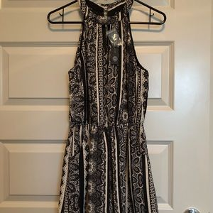 Boutique- Black and Ivory Dressy Romper-NWT-Size S